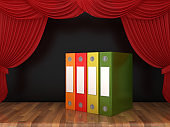 Ring Binders with Red Stage Curtains on Wood Floor - 3D Rendering