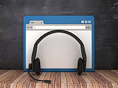 Web Browser with Headset on Chalkboard Background  - 3D Rendering