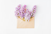 Mockup greeting card, envelope with branches of lilac on a white background