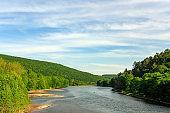 Scenic Delaware River Landscape in the Catskill Mountains in Upstate New York