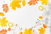 Flat lay composition with a scarf and colorful autumn leaves on a white background