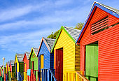 Colorful Cape Town St James Beach Huts in South Africa