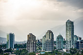 Urban Skyline with Luxury Apartment Buildings in Vancouver Canada
