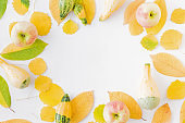 Flat lay composition with colorful autumn leaves, apples and pumpkins on a white background