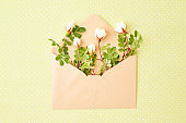 Flat lay composition with craft envelope and small white flowers on a green background