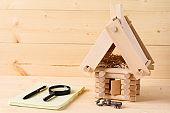 Model of log house.