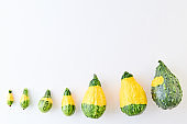 Flat lay composition with pumpkins on a white background