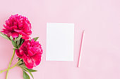 Mockup white greeting card with red peonies on a pink background