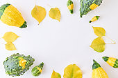 Flat lay composition with colorful autumn leaves and pumpkins on a white background