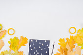Flat lay blogger or freelancer workspace with a notebook, colorful autumn leaves on a white background