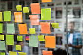 Colorful sticky notes on glass of meeting room