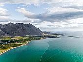 Aerial photograph of the beautiful sea and landscape in Iceland.