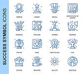 Thin Line Success Related Vector Icons Set for Website and Mobile Site and Apps