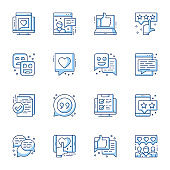 Review, user satisfaction linear vector icons set. Client feedback, online support chat, customer loyalty contour symbols isolated pack.