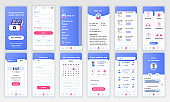 Set of UI, UX, GUI screens Medicine app flat design template for mobile apps