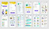 Set of UI, UX, GUI screens Social Network app flat design template for mobile apps