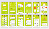 Set of UI, UX, GUI screens Shopping app flat design template for mobile apps