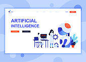 Modern flat web page design template concept of Artificial Intelligence