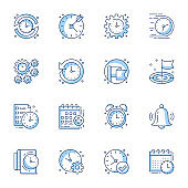 Time and project management linear icons set. Calendar, bell, alarm contour symbols isolated pack.