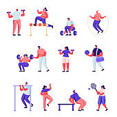 Set of Flat Professional Sport Activities Characters.