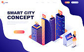 Modern flat design isometric concept of Smart City Technology decorated people character