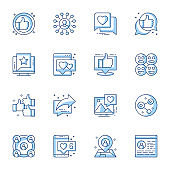 Social media communication linear icons set. Internet conversation, online chatting contour symbols isolated pack.