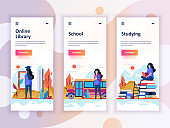 Set of onboarding screens user interface kit for Education, School, Studying, mobile app templates