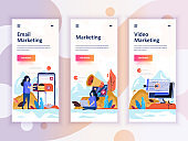 Set of onboarding screens user interface kit for Video, Email, Digital Marketing, mobile app templates