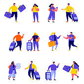 Set of flat people couple family travelling with backpacks characters