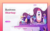 Modern flat design concept of Startup Your Project for website and mobile website development. Landing page template.