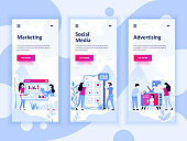 Set of onboarding screens user interface kit for Marketing, Social Media, Advertising, mobile app templates