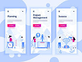Set of onboarding screens user interface kit for Planning, Startup, Success, mobile app templates