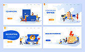 Set of landing page template for Teamwork, Recruiting, Brainstorming, Coworking Office.