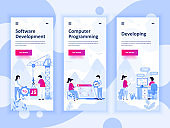 Set of onboarding screens user interface kit for Development, Programming, Developing, mobile app templates