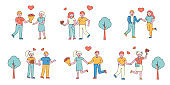 Romantic couples flat charers set. People in love meeting in park cartoon illustrations collection.