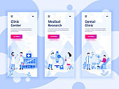 Set of onboarding screens user interface kit for Medicine, Research, Dental Clinic, mobile app templates