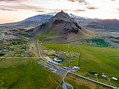 Aerial view of Arnarstapi on the Snæfellsnes peninsula in Iceland.