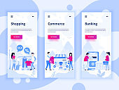 Set of onboarding screens user interface kit for Shopping, E-commerce, Banking, mobile app templates