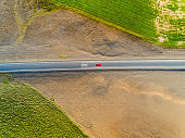 Aerial view of a straight forward road