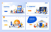 Set of landing page template for Online Shopping, E-commerce, Retail, Internet Banking.