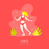 Cute girl in a swimsuit and on rollers with a coconut cocktail walks on the tropical beach. Vector card in flat linear style.