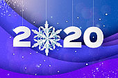 2020 Paper New Year sign on winter blue holiday layered background. Merry Christmas. Snowflake. Vector