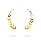 Golden shiny laurel wreath isolated on white background. Vector design element.