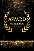 Golden shiny award sign with laurel wreath isolated on dark luxury background with golden glitter. Vector vertical illustration.