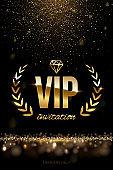 Golden VIP invitation template - type design with diamond, laurel wreath and golden glitter on dark luxury background. Vector illustration.