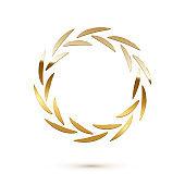 Golden shiny round laurel wreath isolated on white background. Vector design element.