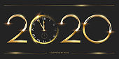 Golden 2020 number with watch vector illustration