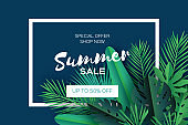 Trendy Summer Sale Template banner. Paper cut art Tropical palm leaves, plants. Exotic. Hawaiian. Space for text. Rectangle frame. Dark green jungle floral background. Monstera, palm. Vector