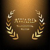 Golden shiny award sign with laurel wreath isolated on dark luxury background. Vector illustration.