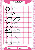 Repeat Pattern. Tracing Lines Activity, Special for preschool kids. Worksheet for practicing fine motor skills. Simple shapes. Complete the pattern. Pink A4